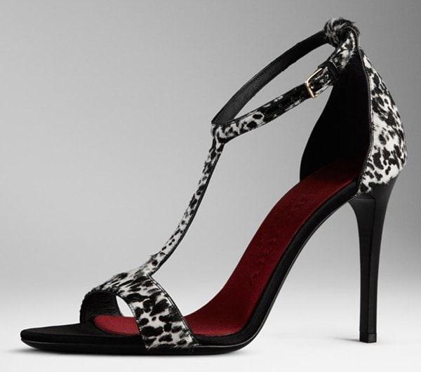Burberry Animal Print Sandals Black White