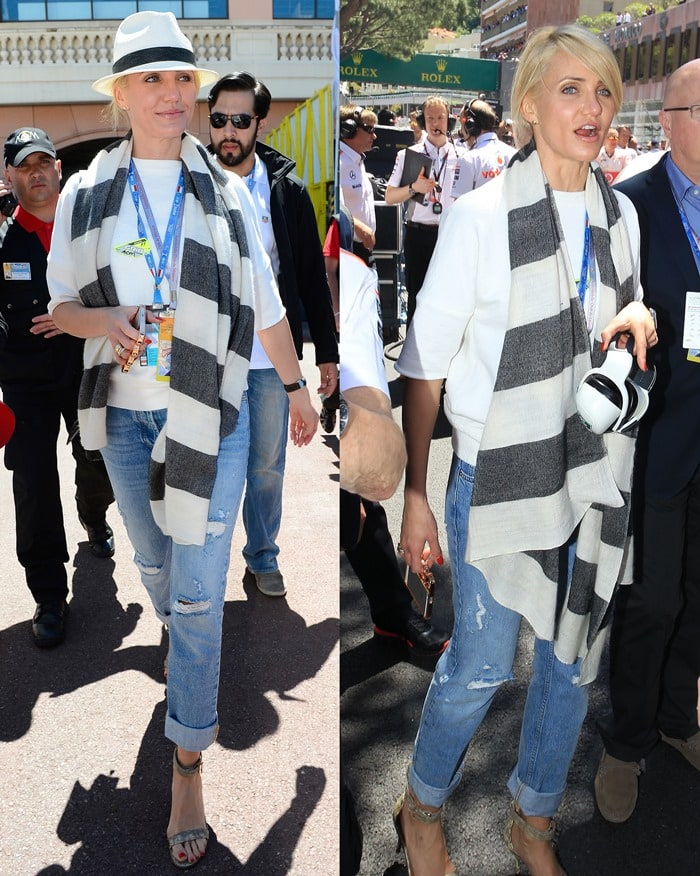 Cameron Diaz wearingcuffed and distressed jeans with a white short-sleeve sweater from Derek Lam