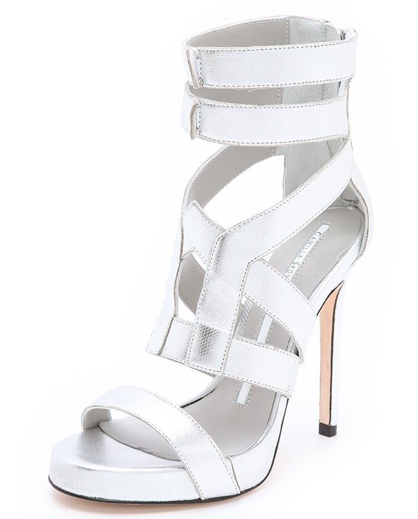 Camilla Skovgaard sandals shimmer in subtly snake-embossed metallic leather