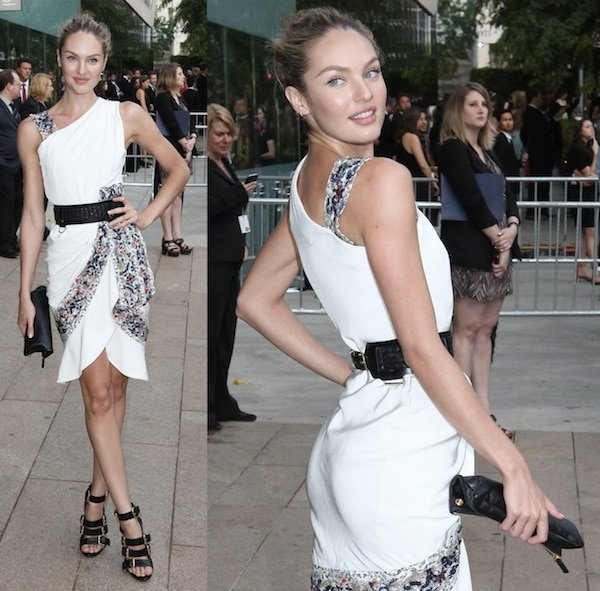 Candice Swanepoel looking fabulous in a form-fitting white dress at the 2013 CFDA Awardsin New York City on June 3, 2013