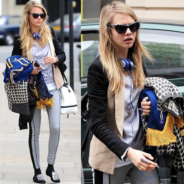 Cara Delevingne wears Mara & Mine slippers