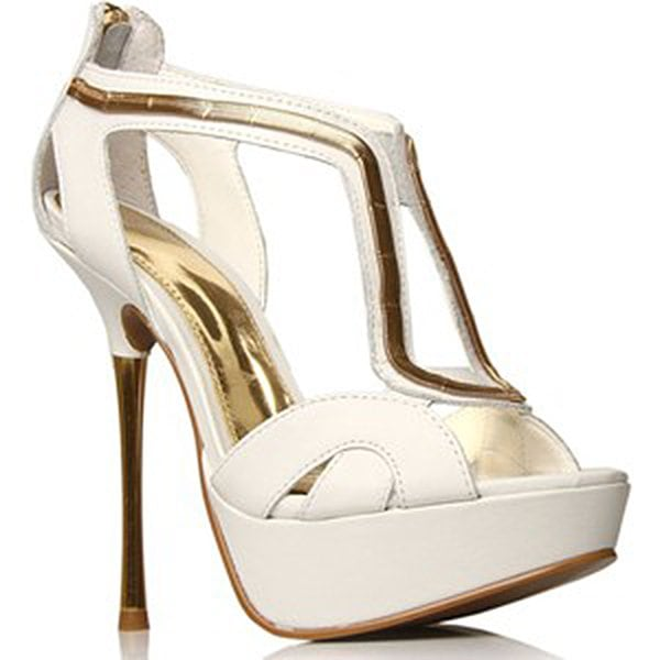 Carvela White and Gold Sandals