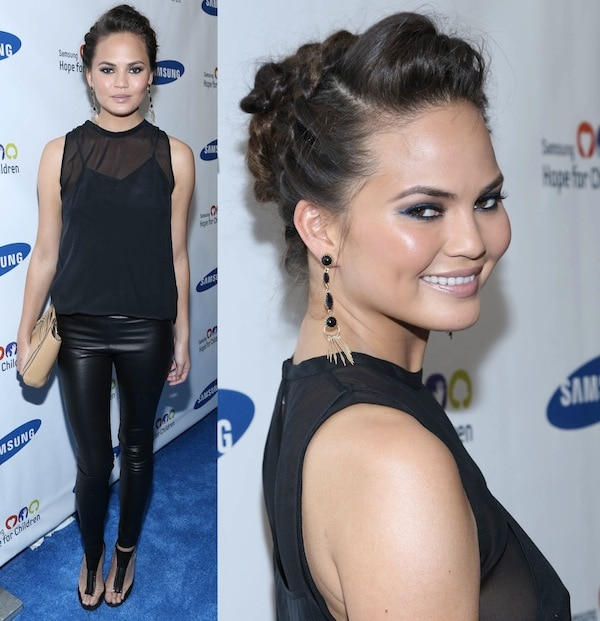 Chrissy Teigen daring to be different at the Samsung Hope for Children Gala at Cipriani Wall Street in New York City on June 11, 2013