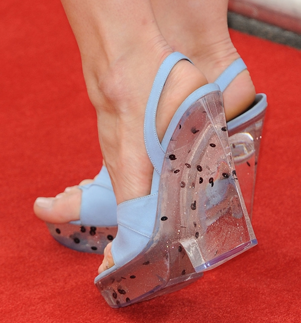 Debby Ryan's platforms and wedge heels are in Perspex