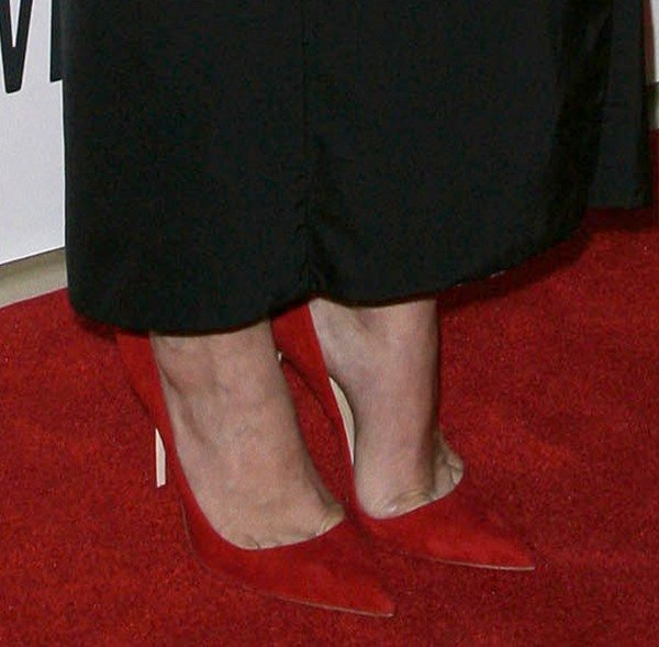 Diane Kruger shows off her feet in red Manolo Blahnik pumps