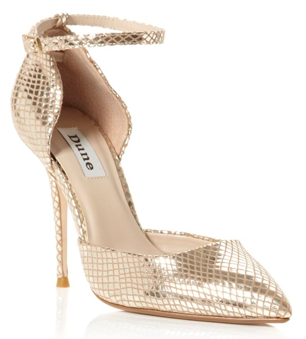 Dune Charm Pointed Open Court Shoes in Gold