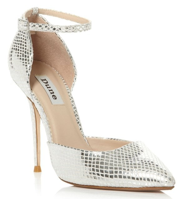 Dune Charm Pointed Open Court Shoes in Silver
