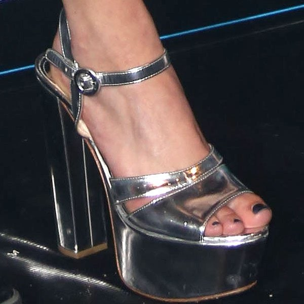 Eliza Doolittle Prada Metallic Platform Sandals