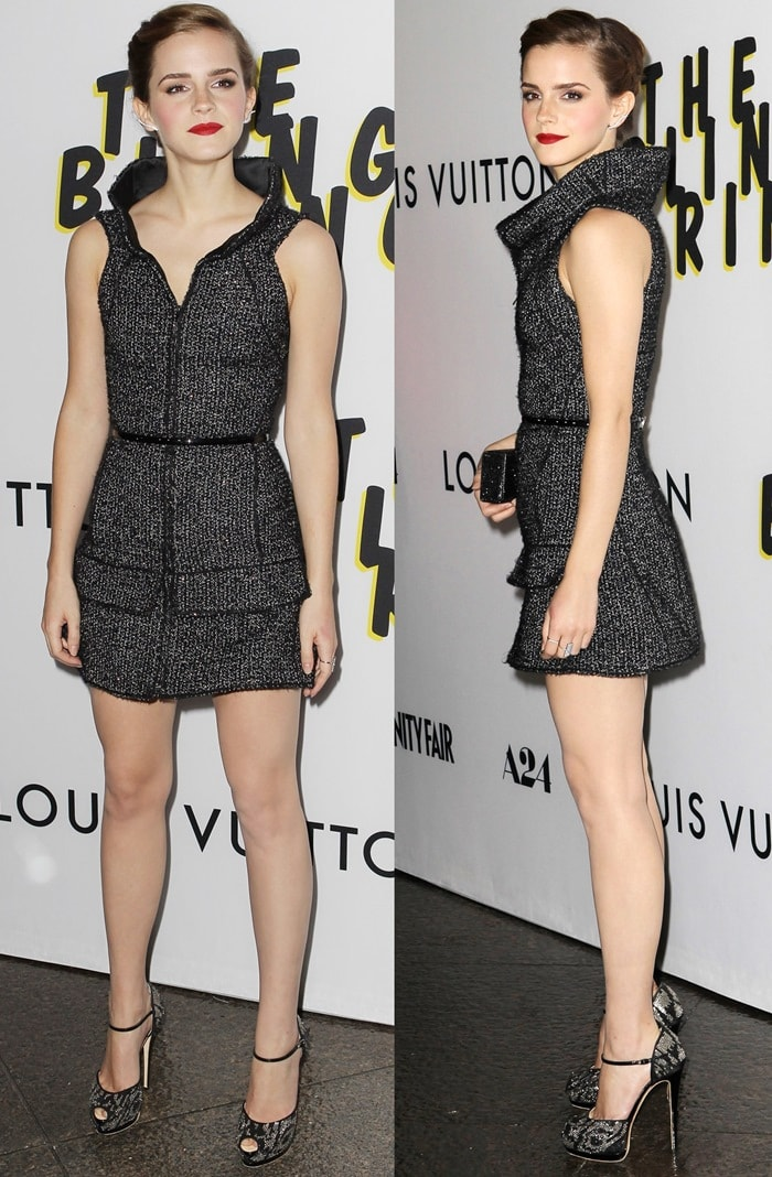 Emma Watson wearing glittery sandals to the premiere of The Bling Ring at the Directors Guild of America Theater in Los Angeles on June 4, 2013