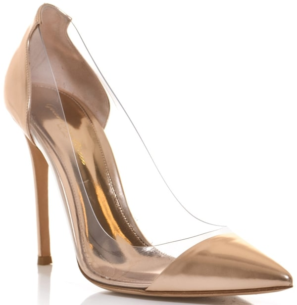 Gianvito Rossi Leather and PVC Shoes Gold