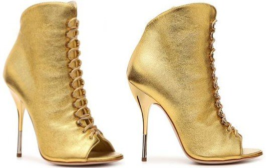 Giuseppe Zanotti Metallic Leather Peep Toe Booties