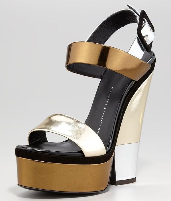 Giuseppe Zanotti Multi-Metallic Platform Wedge Sandals