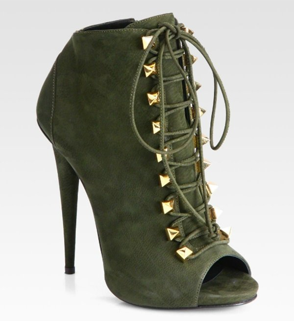 Giuseppe Zanotti Suede Lace-Up Ankle Boots Olive