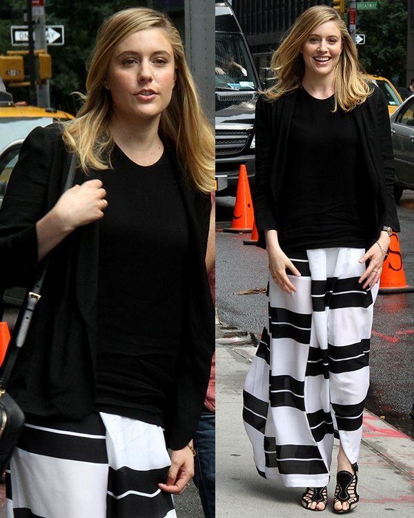 Greta Gerwig gets ready to promote Frances Ha outside the Ed Sullivan Theater for the Late Show with David Letterman