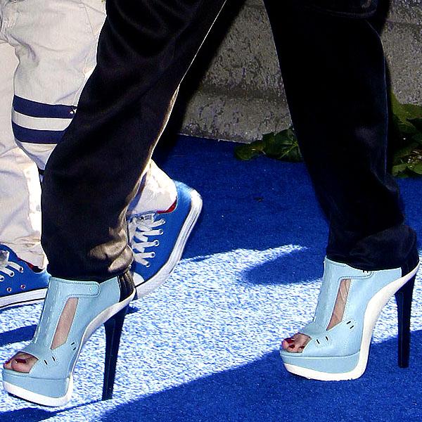 Gwen Stefani baby blue sandal booties