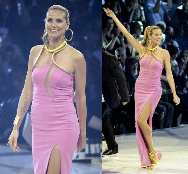 Heidi Klum not caring about the topless protesters from FEMEN on the finale of Germany's Next Top Model on May 30, 2013