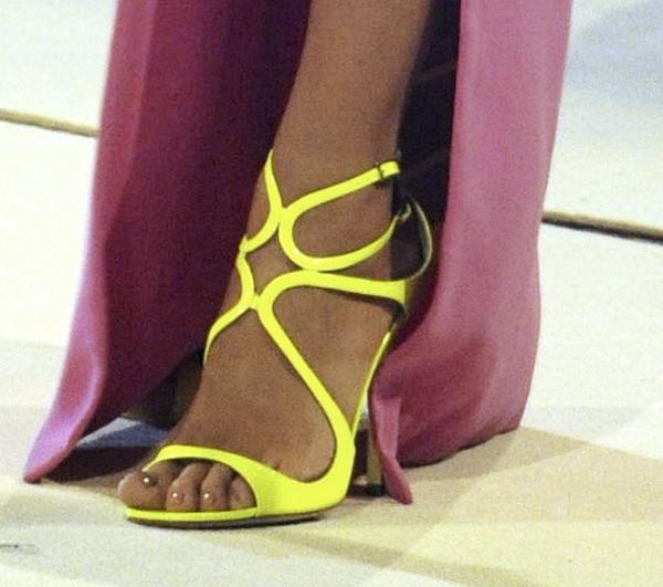 Heidi Klum walking tall in Jimmy Choo Lance sandals