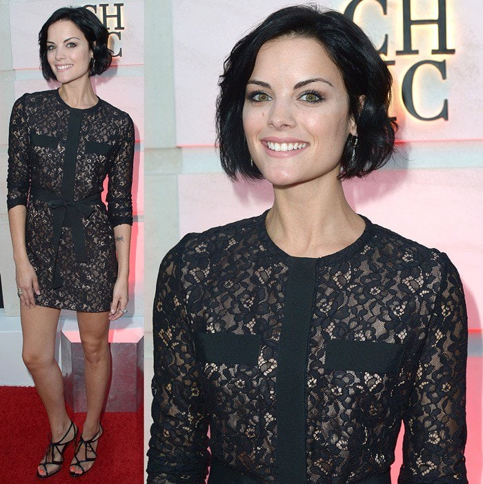Jaimie Alexander wears a black lace dress to the opening of the Beverly Hills Carolina Herrera store