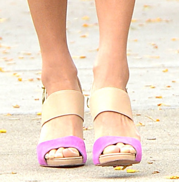 Jamie Chung's mixed-media sandals from Coye Nokes