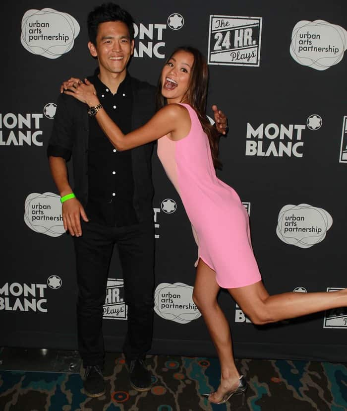 Jamie Chung posing with John Cho at the 24 Hours Play after-party by Montblanc held at The Shore Hotel in Santa Monica, California, on June 22, 2013