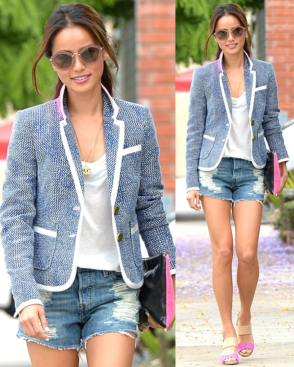 Jamie Chung in tattered denim cutoffs out shopping