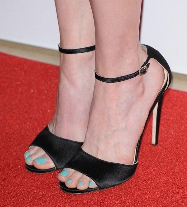 Jennifer Carpenter showing off her feet in black satin sandals