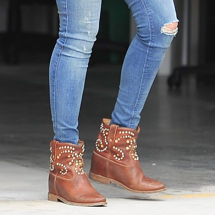 Jessica Alba's studded cowboy-inspired boots