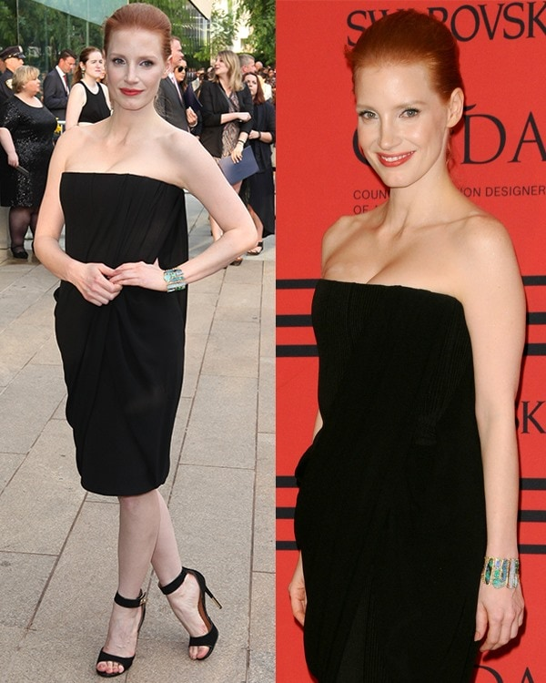 Jessica Chastain attends the 2013 CFDA Awards