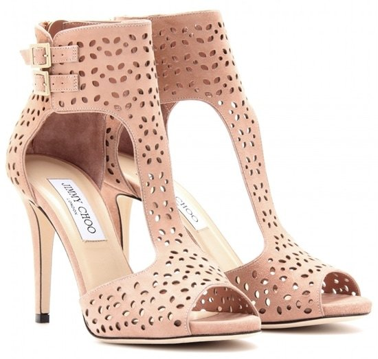 Jimmy Choo Perforated Suede Sandals in Blush