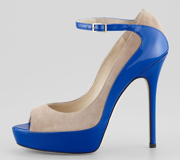 """Tami"" Suede Patent Pumps in Nude/Blue"