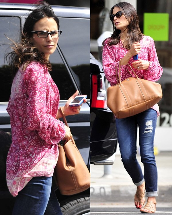 Jordana Brewster looked very casual in a loose top paired with tattered jeans and a pair of flat sandals