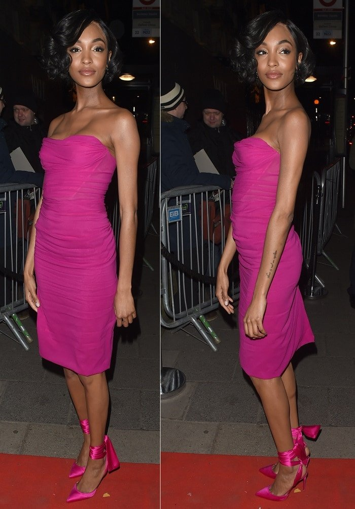 Jourdan Dunn in a strapless pink dress at the Vogue x Tiffany & Co BAFTA Afterparty held at Annabel's private members club in Mayfair, London, on February 18, 2018