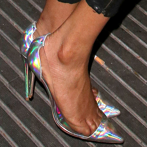 Jourdan Dunn metallic holographic clear pumps