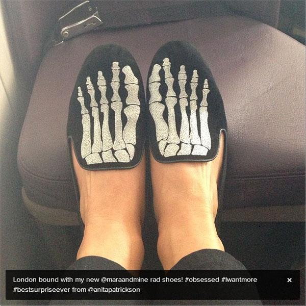 Julianne Hough showing off on Instagram her Mara & Mine skeleton slippers