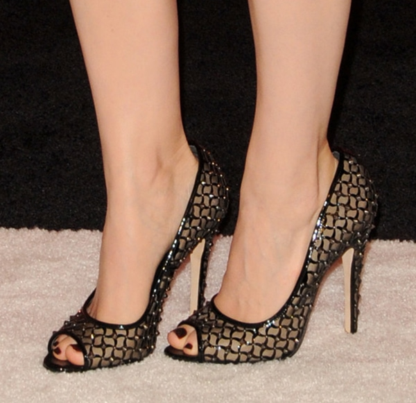Kate Mara shows off her sexy feet in Brian Atwood pumps