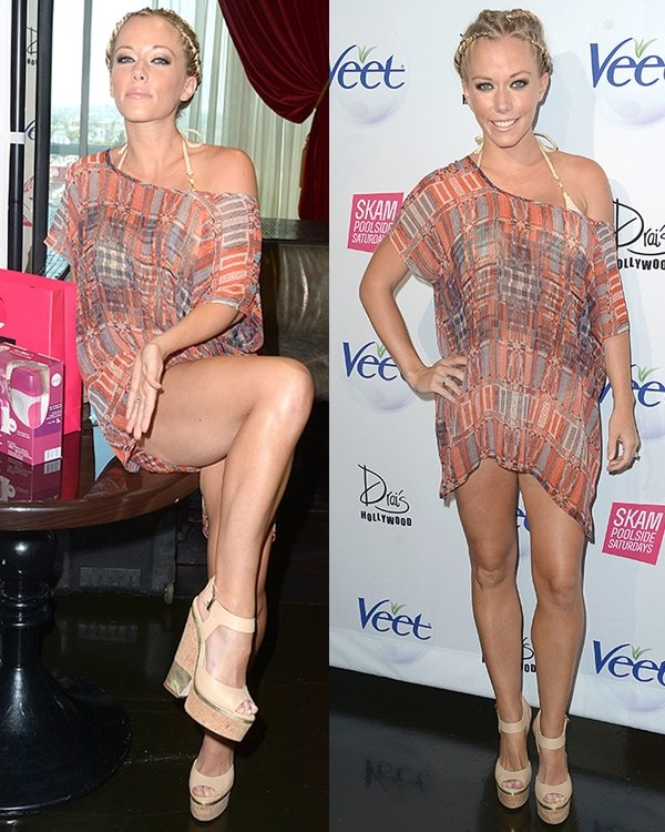 Kendra Wilkinson flaunts her hot legs while hosting the Veet Smooth for Summer Pool Party