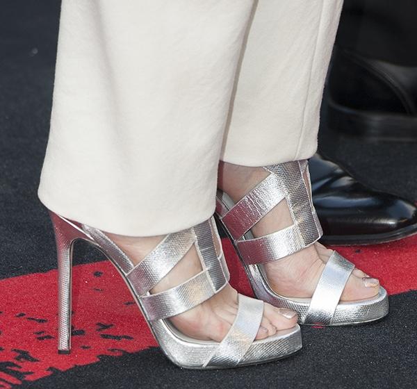 Kimberly Wyatt's feet insilver sandals by Camilla Skovgaard