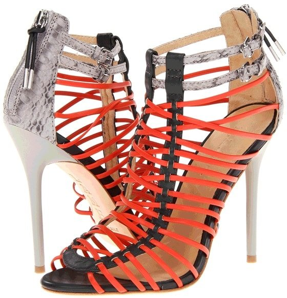 L.A.M.B. 'Payton' Sandals in Black/Red/Gray Snake