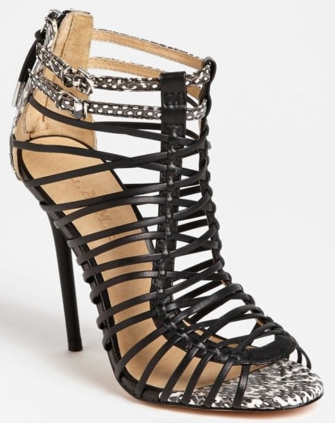 L.A.M.B. 'Payton' Sandals in Black/White Snake