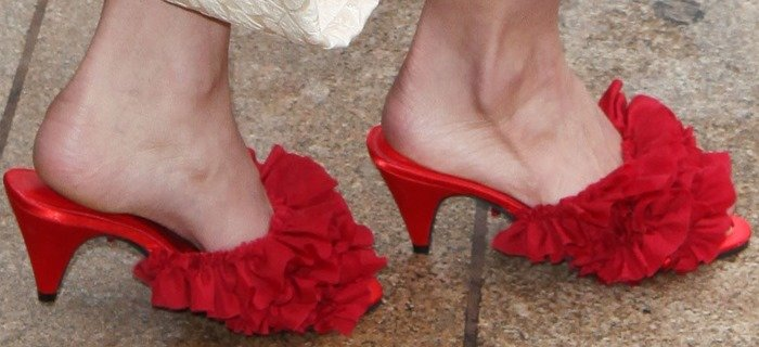 Lily Aldridge borrowed her grandma's slippers for the event