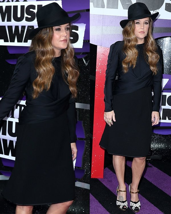 Lisa Marie Presley wears a black dress with a fedora at the 2013 CMT Music Awards