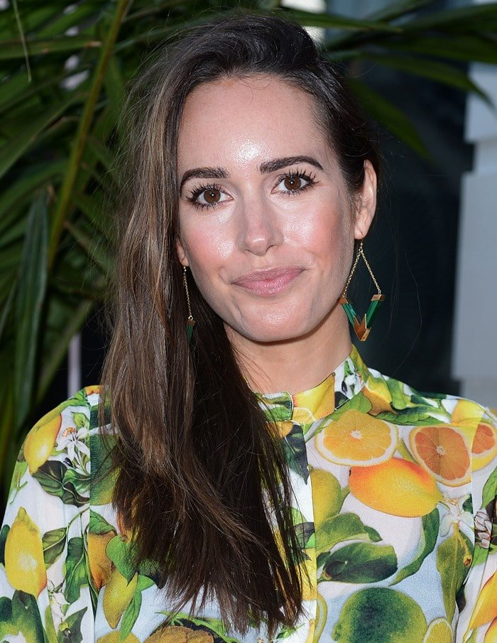 Louise Roe keeps it fresh in citrus print as she attends the opening of the Beverly Hills Carolina Herrera store