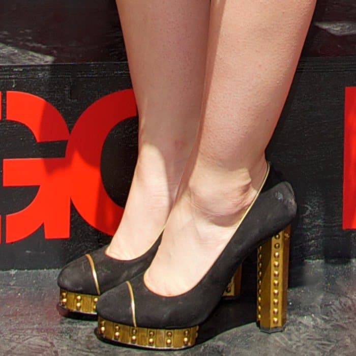 Lucy Hale wearing gold-plated black pumps on board the Bongo Boutique truck in New York City on June 23, 2013