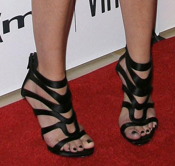 Malin Akerman's feet in strappyGiuseppe Zanotti sandals