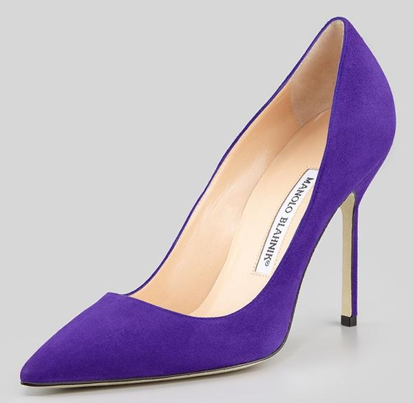 Manolo Blahnik BB Suede Pumps in Purple