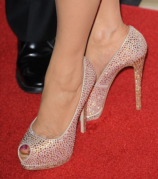 Marie Osmond's sexy toes in feet crystal-embellished Giuseppe Zanotti shoes