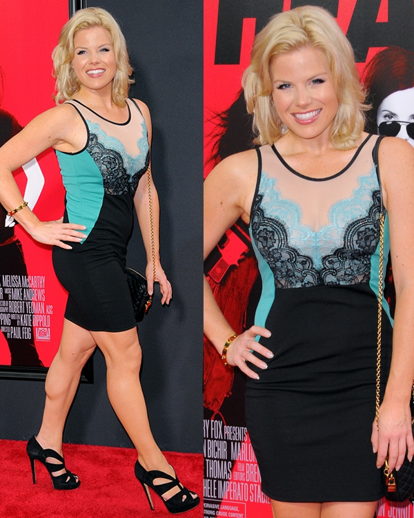 Megan Hilty's long legs at the New York premiere of The Heat