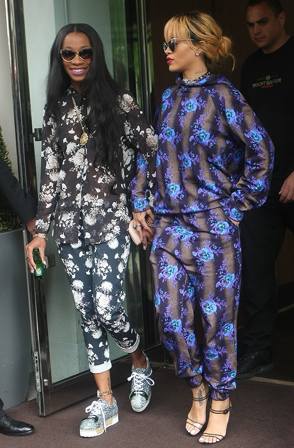 Melissa Forde and Rihanna wearing matching Christopher Kane ensembles