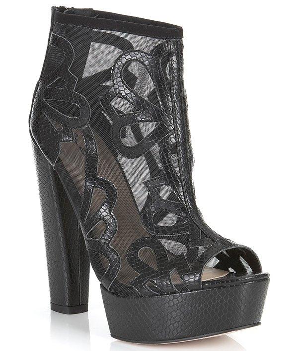 Miss Selfridge Priscilla Mesh Boots Black Snakeskin