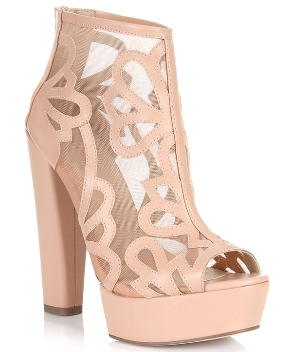 Miss Selfridge Priscilla Nude Mesh Boots